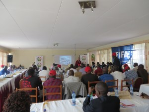 Michael addressing Kenya FA on CSR, Nakuru, Kenya, June 2014